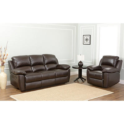 Abbyson Living Toscana Reclining Sofa and Armchair - Espresso Brown