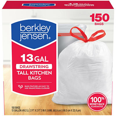 Berkley Jensen 13-Gal. 0.9mil Drawstring Kitchen Bags, 150 ct.