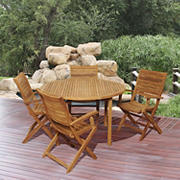 Amazonia Abelie 5-Pc. Teak Round Patio Dining Set - Natural