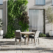 Amazonia Alessa 5-Pc. Teak and Synthetic Wicker Round Patio Dining Set - Natural/Gray