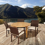 Amazonia Annetta 5-Pc. Teak and Synthetic Wicker Round Patio Dining Set - Natural/Off-White