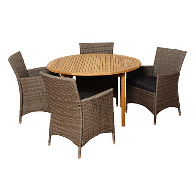 Amazonia Arabella 5-Pc. Teak and Synthetic Wicker Round Patio Dining S