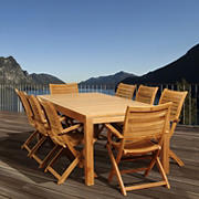 Amazonia Delfina 9-Pc. Teak Patio Dining Set - Natural