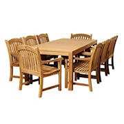 Amazonia Gemma 9-Pc. Teak Patio Dining Set - Natural