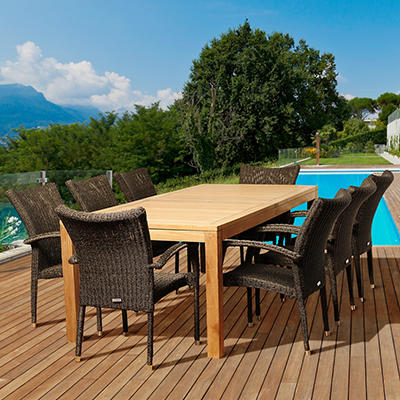 Amazonia Lauretta 9-Pc. Teak and Synthetic Wicker Patio Dining Set - N
