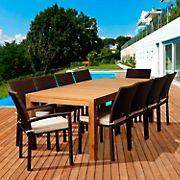 Amazonia Mirella 11-Pc. Teak/Synthetic Wicker Rectangular Patio Dining Set - Natural/Off-White