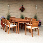 Amazonia Florenzo 9-Pc. Eucalyptus Patio Dining Set - Natural/Off-White/Beige
