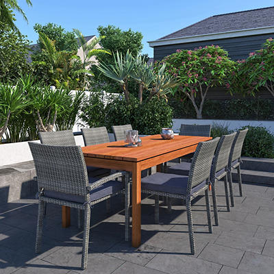 Amazonia Gavino 9-Pc. Eucalyptus and Synthetic Wicker Patio Dining Set