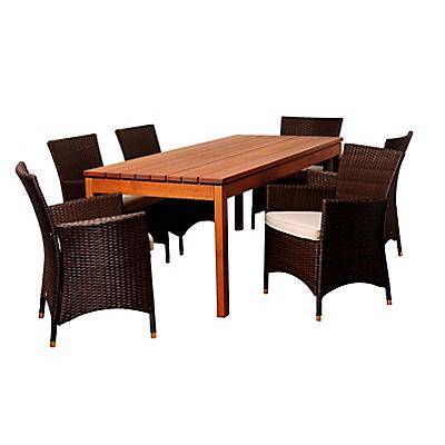 Amazonia Ivo 7-Pc. Eucalyptus and Synthetic Wicker Patio Dining Set -