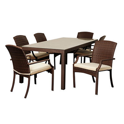 Atlantic Saint Lucie 7-Pc. Synthetic Wicker Outdoor Dining Set - Brown