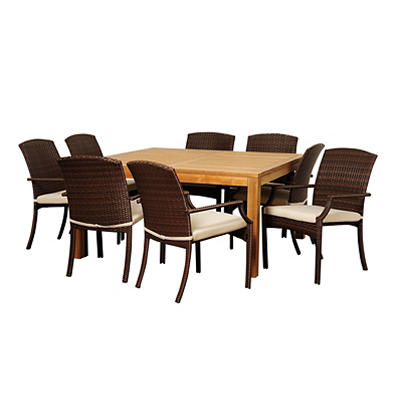 Amazonia Lantana 9-Pc. Teak and Synthetic Wicker Square Patio Dining S