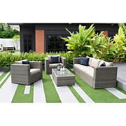 Atlantic Mumbai 5-Pc. Patio Set - Distressed Gray/Brown