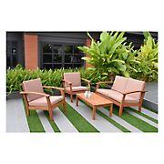 Amazonia Las Vegas 4-Pc. Eucalyptus Outdoor Seating Set - Natural/Khaki