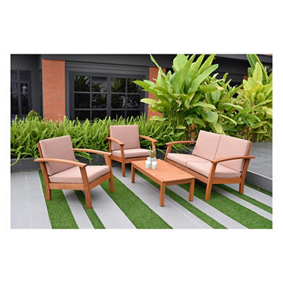 Amazonia Las Vegas 4-Pc. Eucalyptus Outdoor Seating Set - Natural/Khak