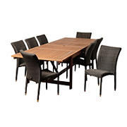 Amazonia Laurel 9-Pc. Eucalyptus and Synthetic Wicker Patio Dining Set - Natural/Distressed Gray