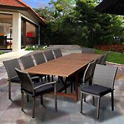 Amazonia Aletta 13-Pc. Eucalyptus and Synthetic Wicker Patio Dining Set - Natural/Gray