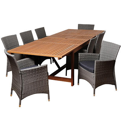 Amazonia Allegra 9-Pc. Eucalyptus and Synthetic Patio Dining Set - Nat
