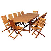 Amazonia San Carlos 13-Pc. Eucalyptus Extendable Rectangular Patio Dining Set - Natural