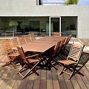Amazonia San Antonio 13-Pc. Eucalyptus Extendable Rectangular Patio Dining Set - Natural