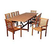 Amazonia San Agustin 9-Pc. Eucalyptus Extendable Rectangular Patio Dining Set - Natural
