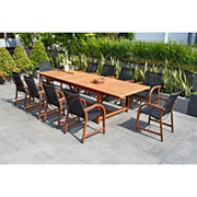 Amazonia Rinehart 11-Pc. Eucalyptus Extendable Rectangular Patio Dining Set - Natural/Black
