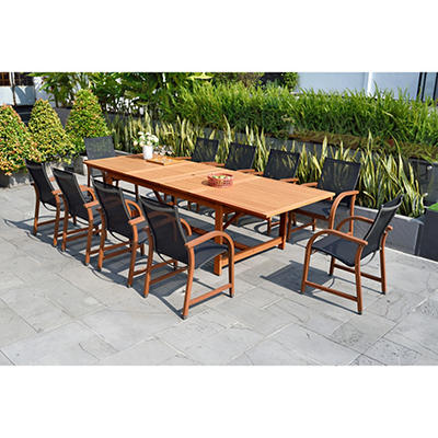 Amazonia Rinehart 11-Pc. Eucalyptus Extendable Rectangular Patio Dinin