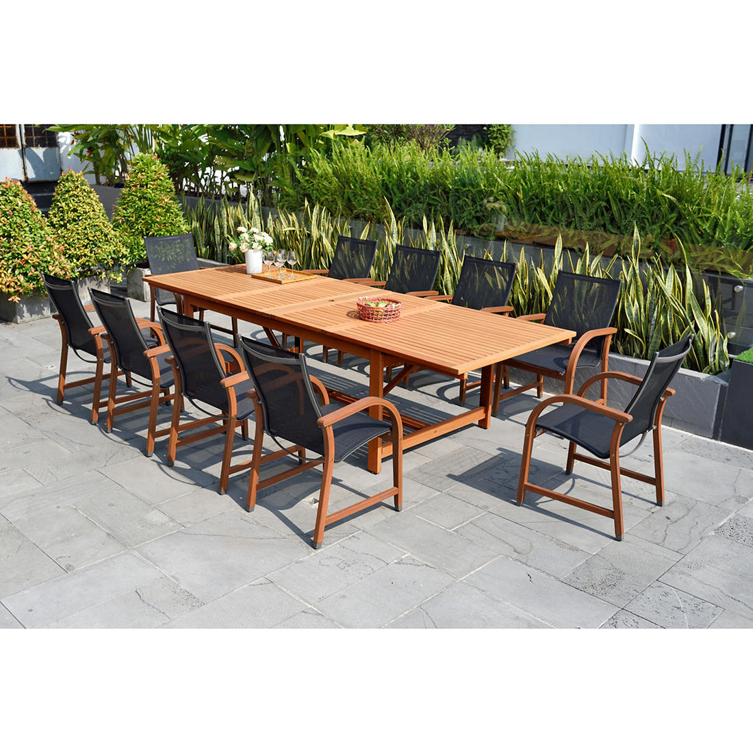Swell Amazonia Rinehart 11 Pc Eucalyptus Extendable Rectangular Patio Dining Set Natural Black Inzonedesignstudio Interior Chair Design Inzonedesignstudiocom