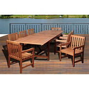 Amazonia Shula 9-Pc. Eucalyptus Extendable Rectangular Patio Dining Set - Natural