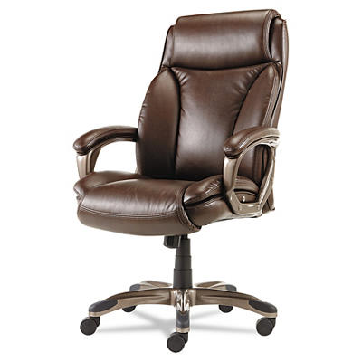 Alera Veon Series Executive High Back Leather Chair - Brown