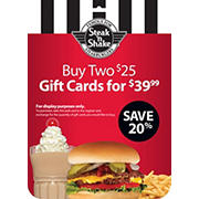 $25 Steak 'n Shake Gift Card, 2 pk.