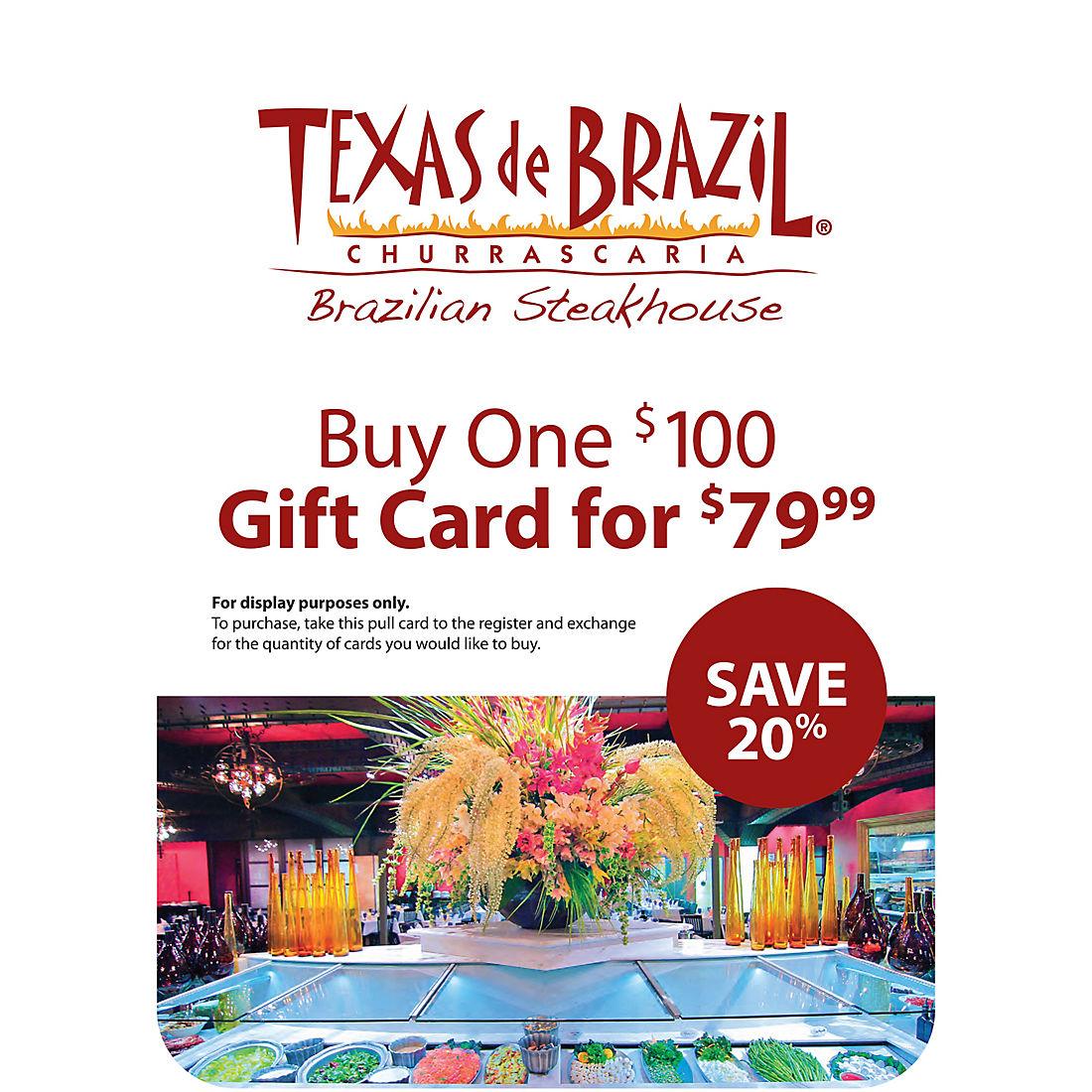 image regarding Texas De Brazil Printable Coupon identified as $100 Texas de Brazil Reward Card