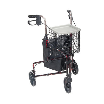 Drive Medical 3-Wheel Rollator Walker with Basket Tray and Pouch - Fla