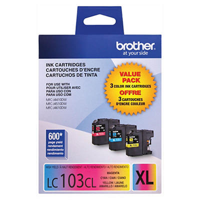 Brother LC103XL Color Ink Cartridges, 3 Pack