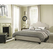 Contour Rest Vivian Full-Size Upholstered Linen Platform Bed Frame - Taupe