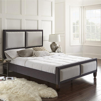 Contour Rest Tobias Queen-Size Wood and Fabric Platform Bed Frame - Gr