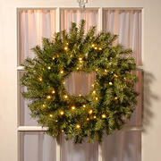 """National Tree Company 24"""" Battery-Operated Pre-Lit Norwood Fir Wreath - Soft White"""