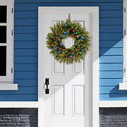 """National Tree Company 24"""" Battery-Operated Pre-Lit Norwood Fir Wreath - Multicolored"""