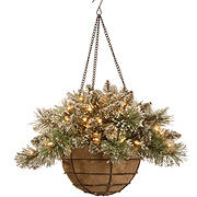 "National Tree Company 20"" Glittery Bristle Pine Hanging Basket - Clear"