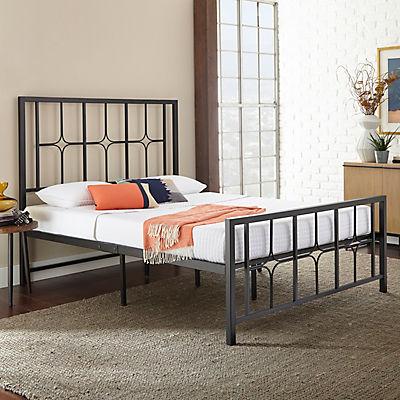 Contour Rest Rosette Queen-Size Metal Platform Bed Frame - Black