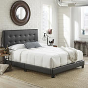Contour Rest Michal Queen-Size Simulated Leather Platform Bed Frame - Black