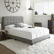 Contour Rest Michal Full-Size Simulated Leather Platform Bed Frame - Gray