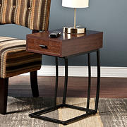 SEI Geneva Side Table with Power and USB Outlets - Walnut