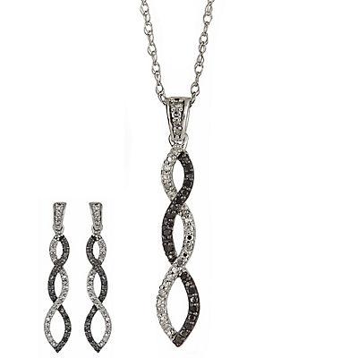 .33 ct. t.w. Round Black and White Diamond Twist Earrings Pendant/Neck