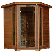 Radiant 4-Person Cedar Infrared Corner Sauna with 10 Carbon Heaters and Ergonomic Backrests