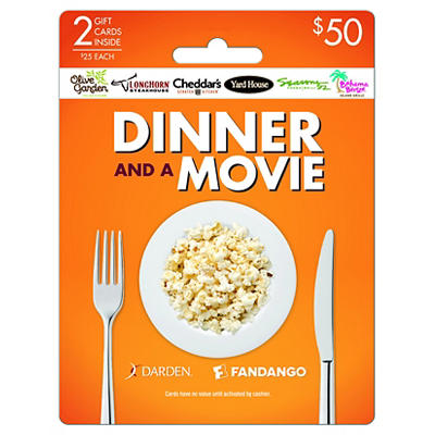 Darden and Fandango Dinner and a Movie $25 Gift Card, 2 pk.