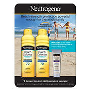 Neutrogena Beach Defense Sunscreen SPF 70 Spray, 2 pk./6.5 oz., with Ultra Sheer SPF 55 Lotion, 1 oz.