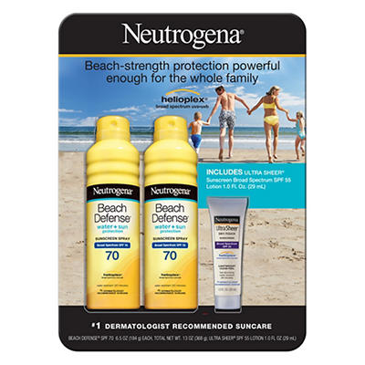 Neutrogena Beach Defense Sunscreen SPF 70 Spray, 2 pk./6.5 oz., with U