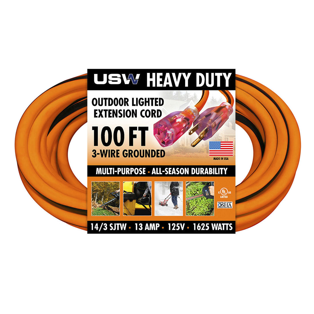 U.S. Wire & Cable 100' Extension Cord - Orange Extension Cord Wiring on