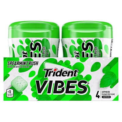 Trident Vibes Spearmint Rush Sugar-Free Chewing Gum, 4 pk.