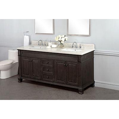 """Lanza Kingsley 72"""" Double-Sink Bathroom Vanity - Distressed Dark Choco"""